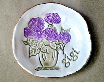 Ceramic Jewelry Holder Ring Dish hydrangea edged in gold GIGI  Mothers day