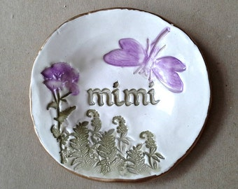 Ceramic MIMI Trinket Bowl  edged in gold  Mothers day