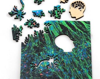 Green Neural Network Puzzle - microscopic art jigsaw puzzle, laser cut wood