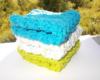 Set of 3 Crochet Dishcloths-Washcloths-Face cloth scrubbies-Aqua Lime