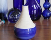 Blue Vase - SHOP SALE - Short Groove Vase in Cobalt Blue - Small Cobalt Blue Ceramic Vase