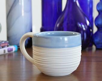 Blue Mug with Handle - Groove Mug in Cornflower Blue