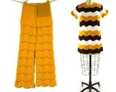 1960s Crochet Bellbottoms & Tunic Set / One of a Kind Sweater Pants and Chevron Jumper