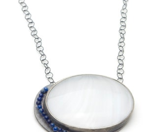 Antique Glass and Lapis Necklace