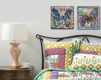 "Butterfly art   butterfly painting   butterfly decor   collage art   Original Canvas Art   Mixed Media Art   art for girls' room 8x8"""