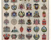 Antique Print Arms of Various Nations Wall Art Print Coat of Arms National Seals Heraldry Artwork National Symbolism Flags Mottos Symbols