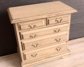 Dolls House Miniature Shabby Neutral Chest of Drawers