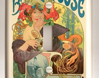 "Single Light Switch Cover - Alphonse Mucha ""Bieres de le Meuse"" - Tan Background"