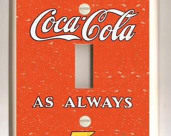 Single Toggle Light Switch Plate - Coca Cola - Red,Yellow and White