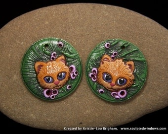 A pair of Kitten Beads Cameos, a Matched pair of 2 OOAK handmade green, lavender, beige, Polymer Clay Kittens