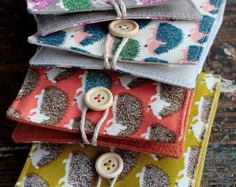 Small Linen Needle Book - Hedgehogs