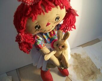 Raggedy Ann Doll, Rag Doll, Country Doll, Redhead Rag Doll, Pet Bunny, Primitive Doll