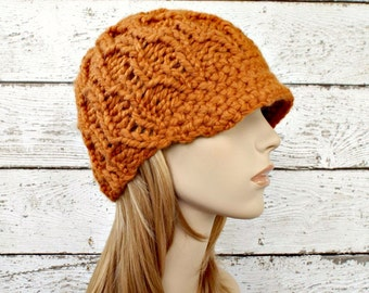Orange Womens Hat Orange Newsboy Hat - Amsterdam Beanie Apricot Orange Knit Hat - Orange Beanie Womens Accessories - READY TO SHIP