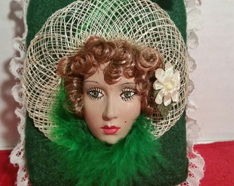 Handcrafted Lady w/Hat Plaque Hanging or Ornament - Green