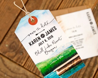 Luggage Tag Magnet Save the Date - Lake View Design - Outdoor Wedding Graphic Save the Date - Design Fee
