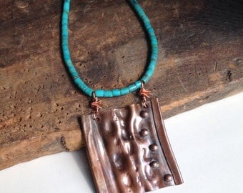 Etsy, Etsy Jewelry, Copper Air Chased Pendant, Metalwork Necklace, Turquoise Heishi Beads, Southwest, Hammered Metal
