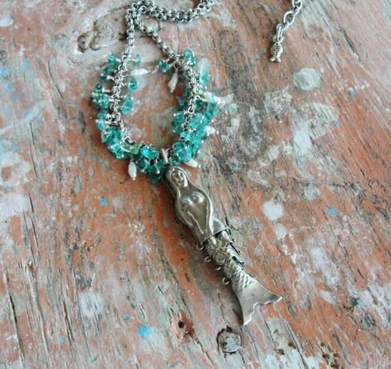 Mermaid Necklace Pearls, Aquamarine and Vintage Mermaid