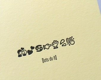 Emojicards: Lets Do It, single letterpress card