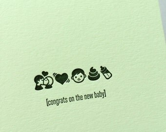 Emojicards: Congrats On The New Baby, single letterpress card