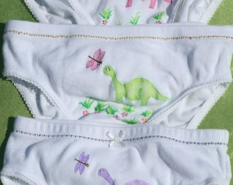 3 pack Dinosaur Panties (girls size XXsmall, Xsmall, Small, Meduim, Large) hand painted