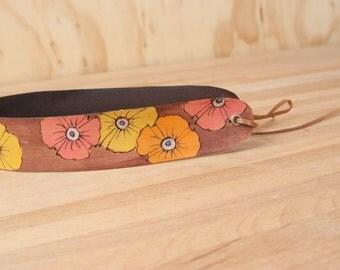 Leather Headband - Poppy Garden pattern with flowers in pink yellow orange - adjustable - Womens headband - Wide headband - Handmade leather