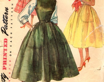 Simplicity 1046 Mother & Daughter Fashion Bust 36 Dress Jumper Blouse VINTAGE 1950s ©1955