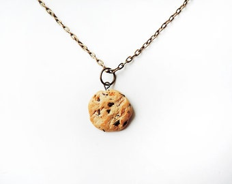 Chocolate Chip Cookie Necklace Antique Bronze Chain