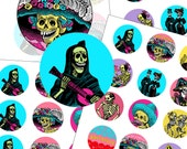 "Day of the Dead Party Cupcake Toppers 2"" circle digital collage sheet 50mm circles"