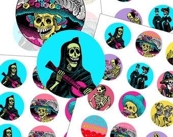 """Day of the Dead Party Cupcake Toppers 2"""" circle digital collage sheet 50mm circles"""