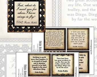 Frida Kahlo 4x4 100mm square digital collage sheet set instant download  quotes