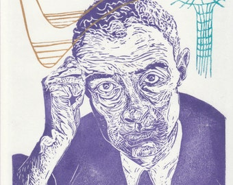 Linocut portrait of physicist J. Robert Oppenheimer, History of Science Lino Block Portrait, Quantum Physics, Astrophysics, Black Hole