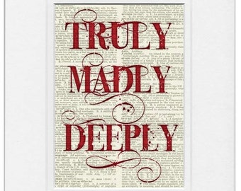 truly, madly, deeply red sign