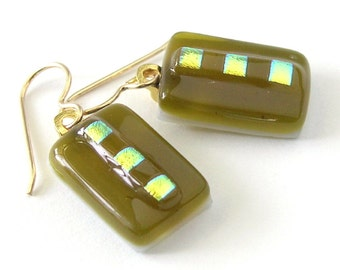 Simple Elegance - Green Gold Fused Glass Drops -  Antique Bronze - Vermeil  - Dichroic glass accents -