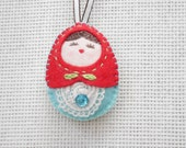 Felt Ornament (Medium Size), Stocking Stuffers, Felt Key Chain, Felt Doll, Felt Russian Doll, Felt Matryoshka, Christmas Gift