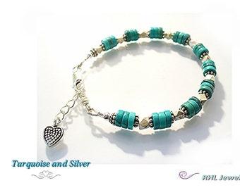 Chakra Bracelet Turquoise Bracelet  Silver and Turquoise Heishi Bracelet Heart Charm - B2014-14