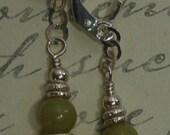 Semi precious jade, Swarovski crystal and Bali sterling silver beaded pierced earrings