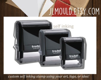 SELF INKING 1 9/16 x 2 3/8 (40mm x 60mm) JLMould Custom Rubber Stamp Return Address with Image Choose colors of ink Wedding Savethedate