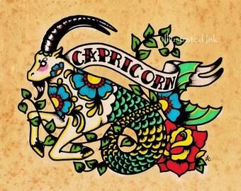 Zodiac Tattoo Art CAPRICORN Goat Astrology Print 5 x 7, 8 x 10 or 11 x 14