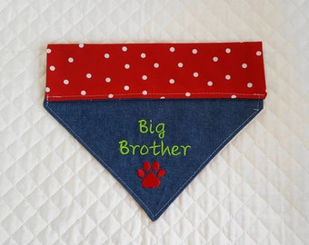 Big Brother Dog Bandana,Denim, X-Large, Red with White Polka Dots, Embroidered, Dogs,Pet Clothing,Pet Accessories,New Baby,Baby Announcement
