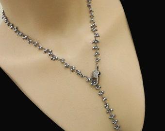 "30"" Pave Diamond-Black Pyrite-Black Rhodium Plate Y Necklace Fringe Charm Adjustable Necklace"