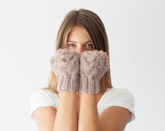Owl fingerless gloves in beige mittens hand knit gloves hand warmers texting gloves mittens mitts wrist gloves