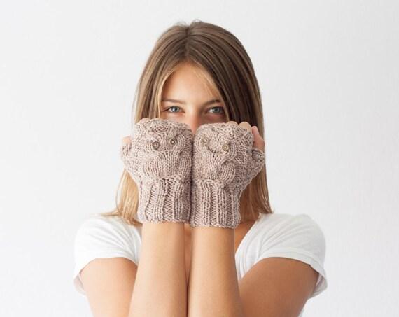 Owl fingerless gloves in beige mittens hand knit gloves hand warmers texting gloves mittens mitts wrist gloves