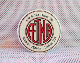 SALE Vintage Advertising Mirror - Aetna Insurance Kenton Ohio
