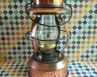 Little Vintage Copper Toned Oil Lamp