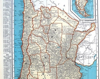 Map of Paraguay and Uruguay, Map of Argentina and Chile - 1936 Vintage Map from World Atlas 11 x 14