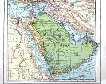 Map of Turkey in Asia, Syria, Palestine and Map of South America -  1928 US State Map Colored Vintage Map from World Atlas 2 Sided
