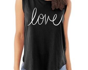 LOVE Cap Sleeve Cotton Muscle Tee shirt Alternative Apparel