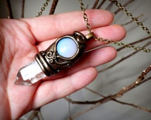 Hera Queen of Heaven Full Moon Pendant - Opalite and Quartz Crystal Point Wearable Pendulum Necklace - Healing Stones Jewelry New Age