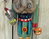 Folk Art Whimsical Hippo Hippopotamus NutCracker Doll Rhino & Jol Ooak Vintage Nostalgic Style