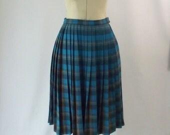 Vintage Pleated Plaid Midi Skirt Aqua Yellow Umber Brown Pleats Full Skirt Small Medium